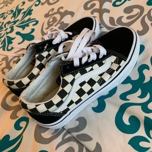 Black and white checkered vans(old school)